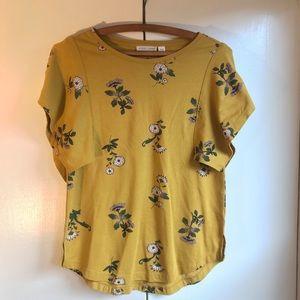 Melrose and Market Floral Mustard Shirt